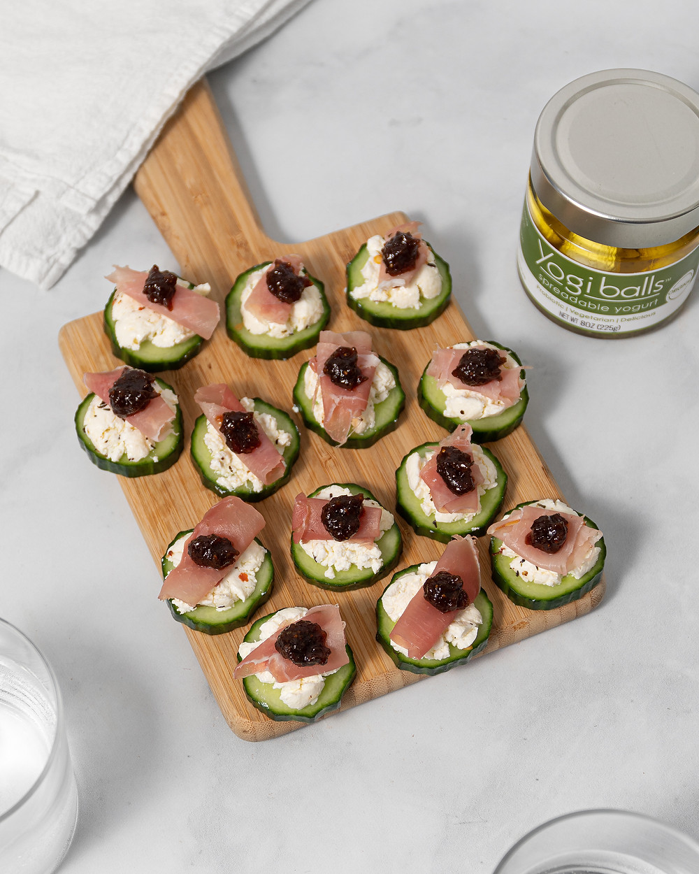 Prosciutto & YogiBalls Cucumber Appetizer