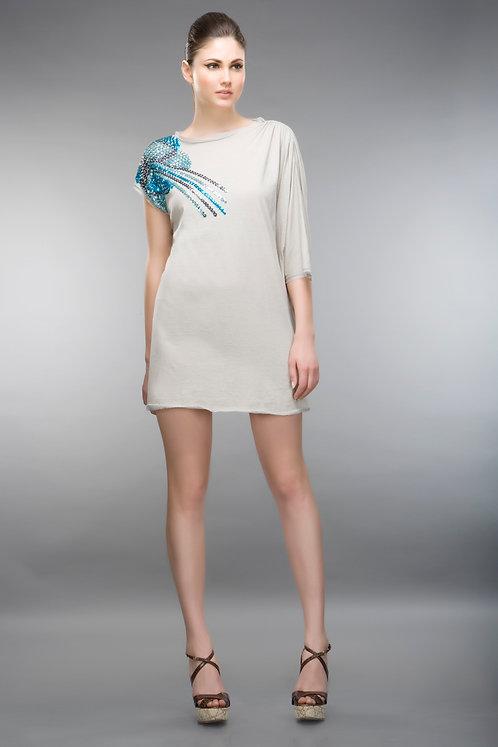 GREY SHOULDER EMBELLISED DRESS