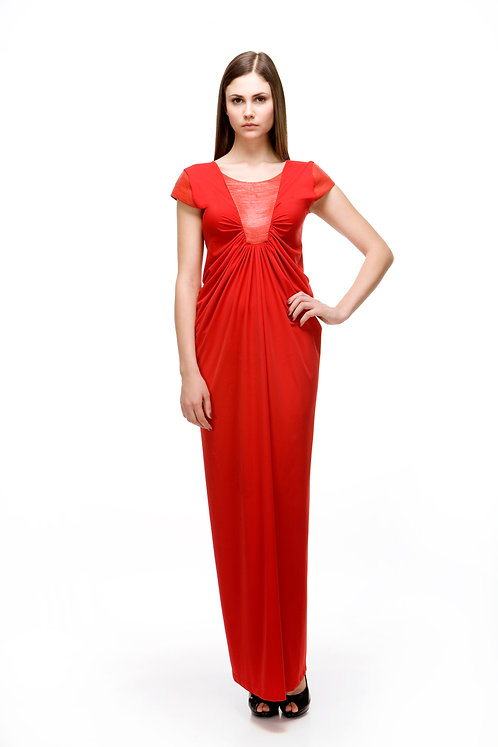 RED EVENING DRESS WITH LEATHER TRIM
