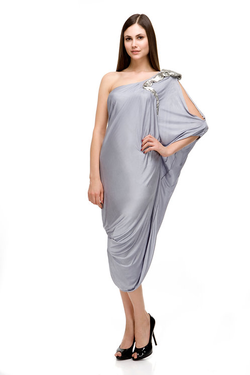 SILVER DRESS WITH SHOULDER ZARDOZI (LONG)