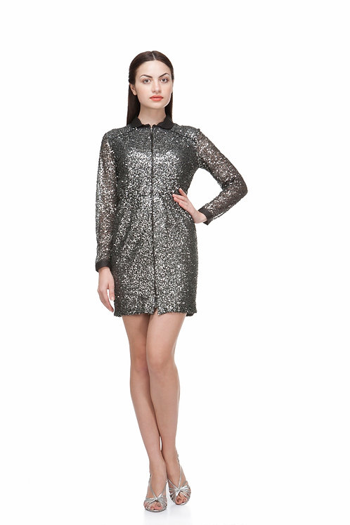 BLACK AND GOLD SEQUIN SHIFT DRESS