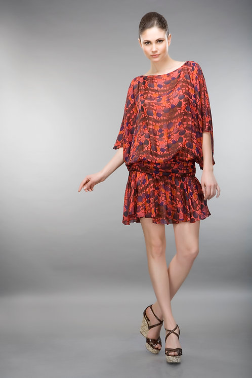 RED SILK PRINTED DRESS
