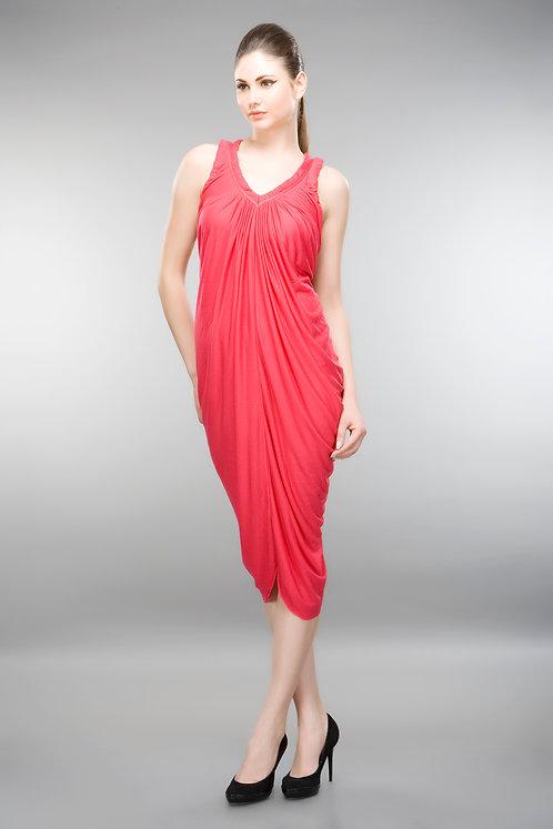 RED GRECIAN DRAPE DRESS