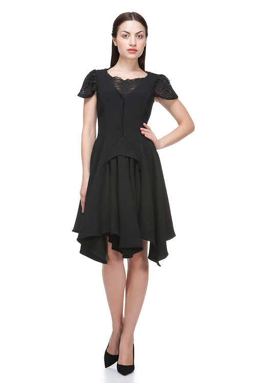 BLACK WOOL CREPE DRESS