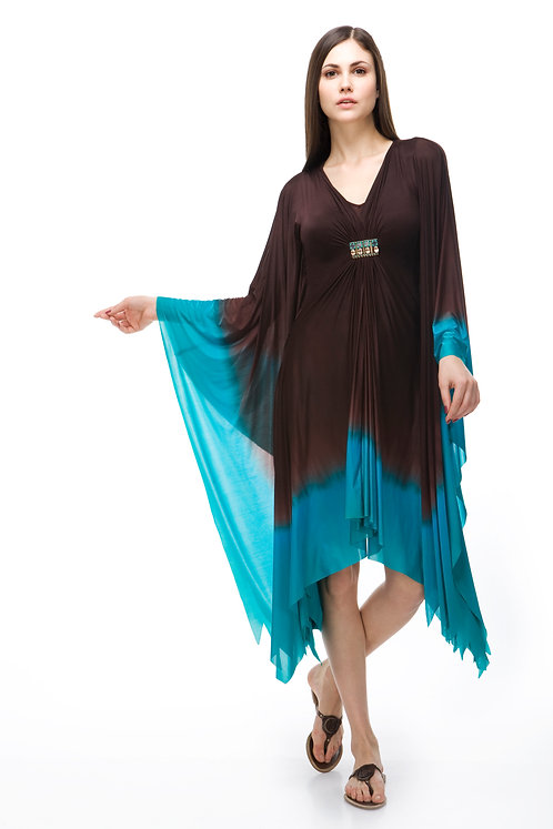 BROWN AND TURQUOISE COCKTAIL KAFTAN