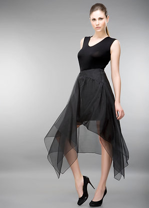 ASYMMETRICAL SHEER SILK CHIFFON BLACK SKIRT