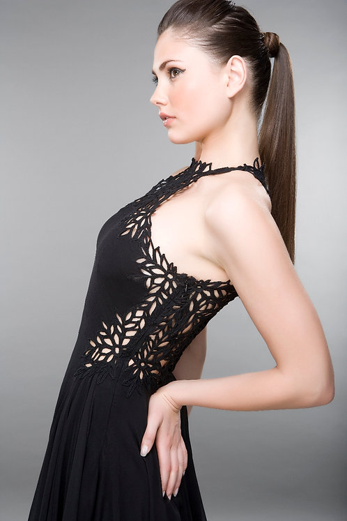 HANDMADE LACE BACKLESS DRESS