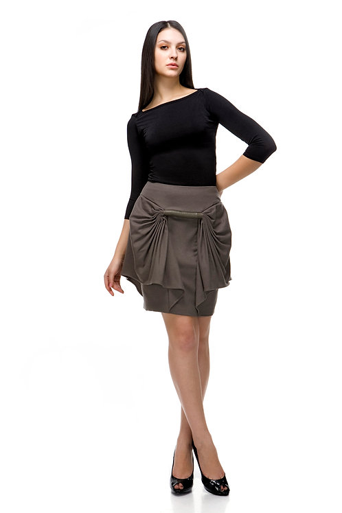 CASHMERE ARCHITECTURAL SKIRT WITH LEATHER TRIM