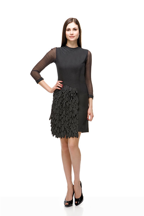 FEATHER DRESS IN CASHMERE AND SILK CHIFFON