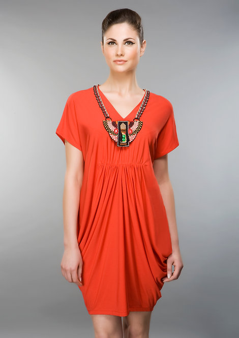 RED NECKLACE DRESS