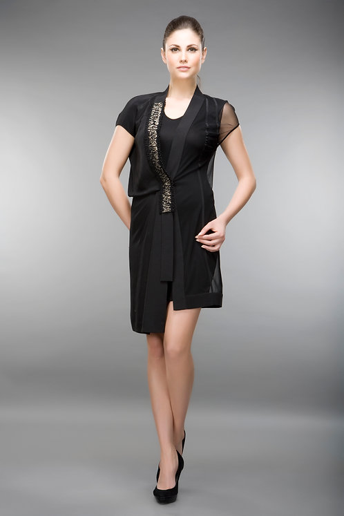 HALF SHEER AND CREPE DRESS WITH INNER SHELL