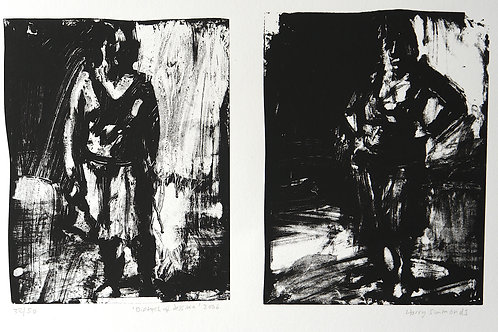 Screen Print contemporary art grey black and white for walls and bedrooms buy sale diptych monoprint