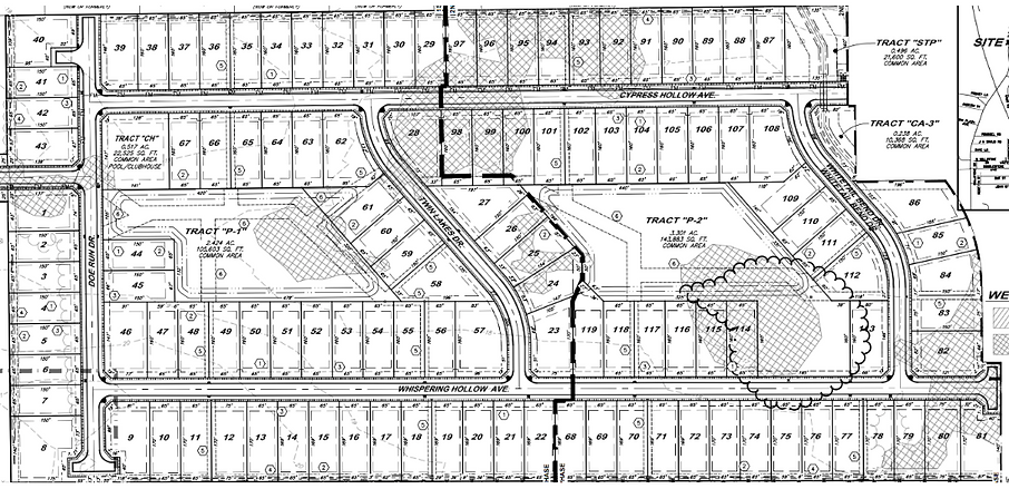 Subdivision plans for The Hollows of Dutchtown subdivision in Prairieville, LA