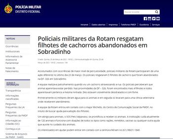 Policiais militares da Rotam resgatam filhotes de cachorros abandonados em Sobradinho