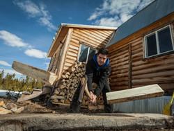 Splitting Wood at Willow Cabin Lodge