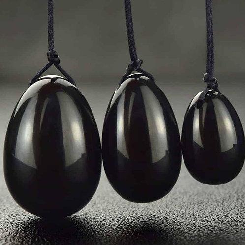 Black Obsidian Yoni Egg Set (Drilled)