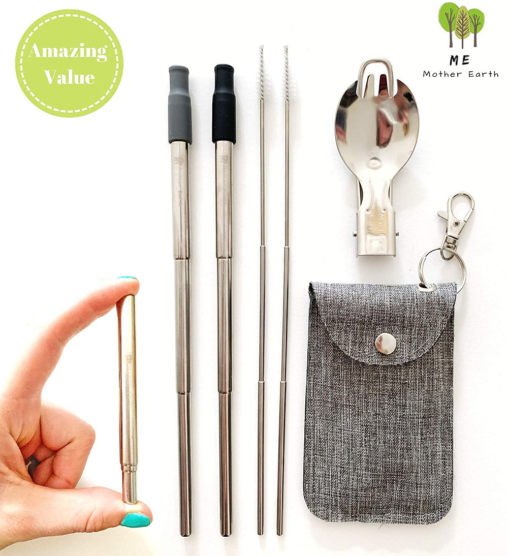 reusable utensil kit to carry with you on the go