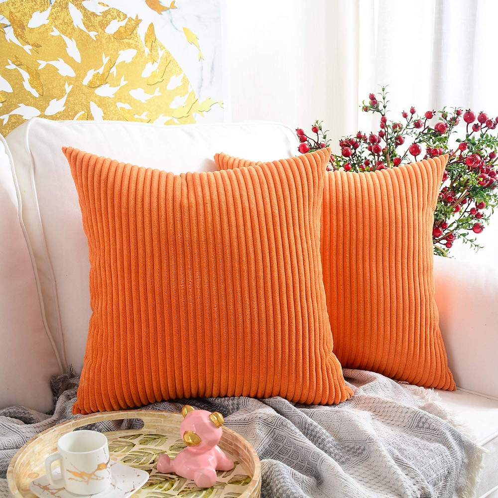 fall decor throw pillows orange corduroy amazon products