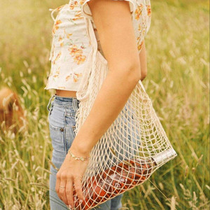 Parisian cotton mesh bags are all the rage. eco friendly and super trendy