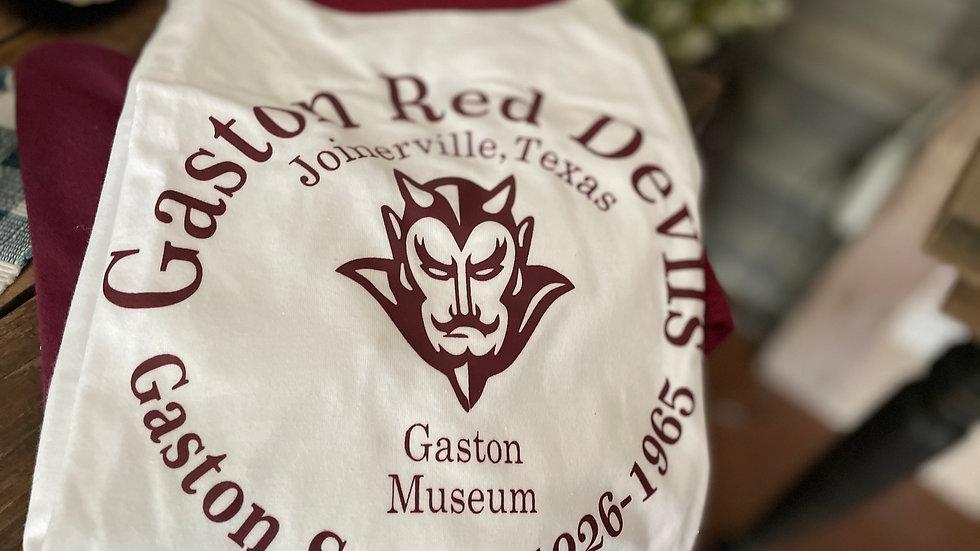 White/ Baseball Maroon Sleeve Gaston Red Devil Tshirt