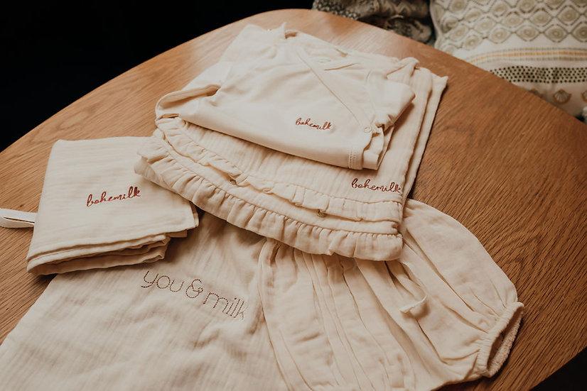Bohémilk box allaitement couleur milk - blouse + body  ou bloomer + lange