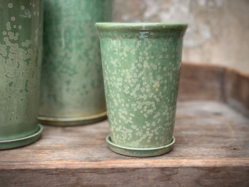 SMALL MINT GREEN GLASED CERAMIC PLANTER & STAND