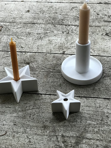 MEDIUM WHITE DANISH STAR TABLE CANDLESTICK