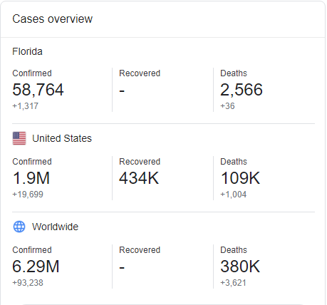 Florida Coronavirus Cases Overview