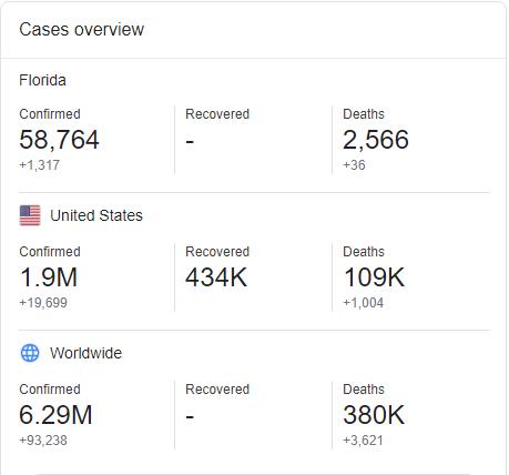 Florida Coronavirus Cases Overview