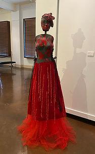Red Dress ceramic corset, velvet and encaustic