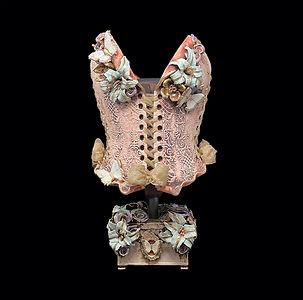 Tabula Rasa wearable ceramic corset with clay stand