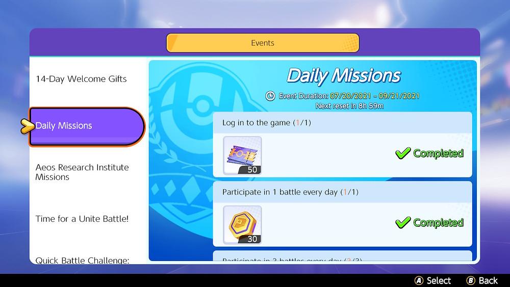 pokemon unite eventos missões