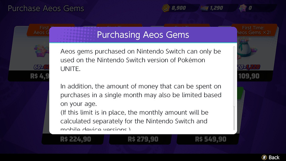 pokémon unite aeos gems transação skins acessórios