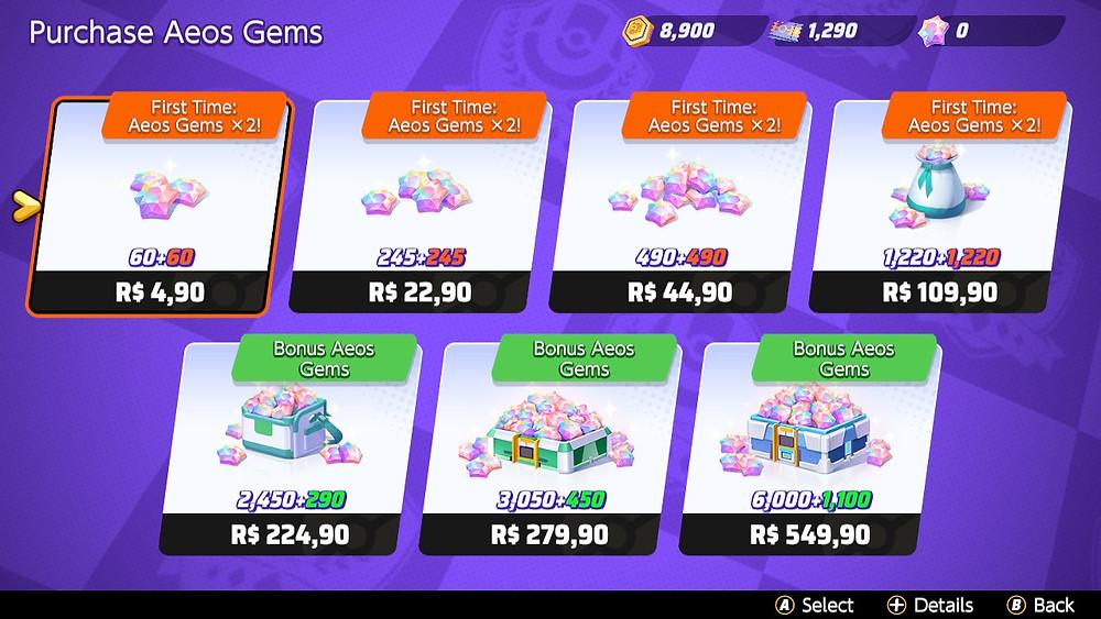 pokemon unite aeos gems preços skins acessórios