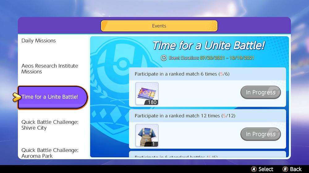 pokémon unite missões evento