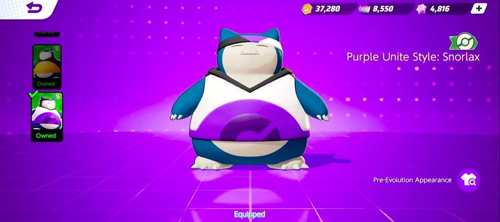 pokemon unite snorlax novas skins