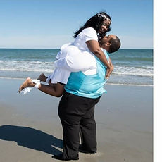Beach Wedding Bride and Groom on their W