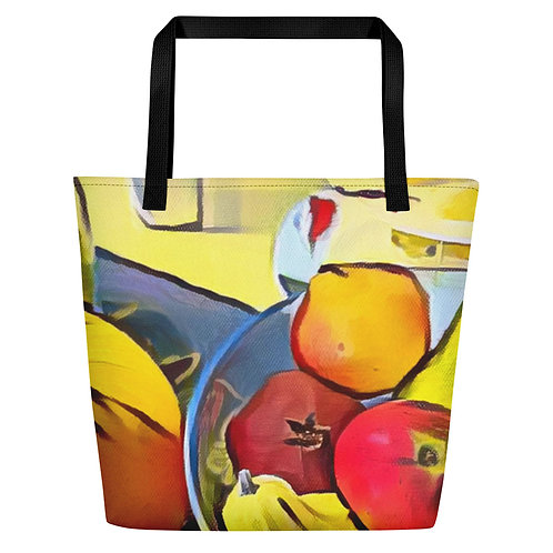 All-Over Print Large Tote Beach Bag w/ Pocket