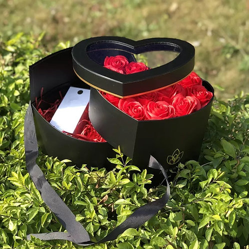 Double Layer Heart Shaped Flower Box
