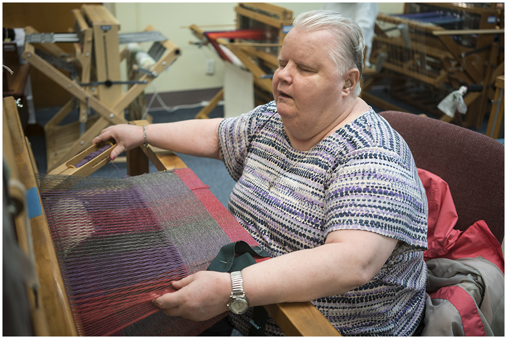Jeanette is weaving with fiber from North Light Fiber on Block Island, RI