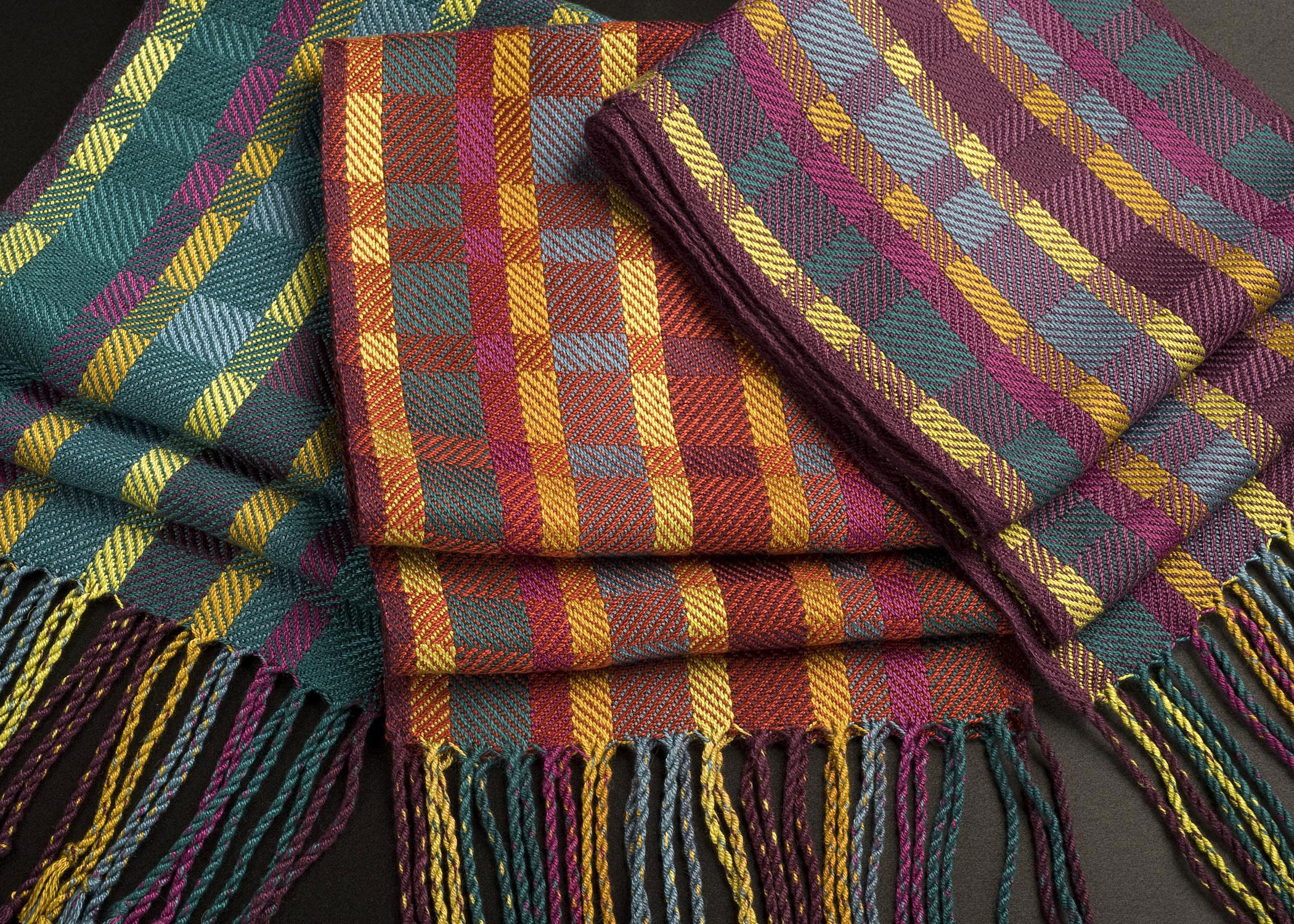Two block twill scarves - photo by Jody Brewer