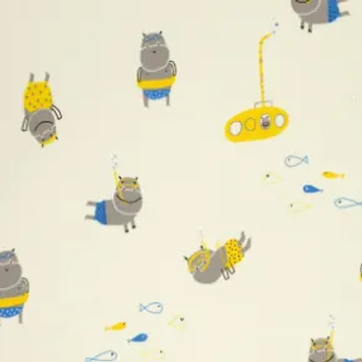 jersey-matière-hippos-sous-l-eau-sur-tissu-jaune-pastel-en-vente-aux-ateliers-dyvonne-a-kerlouan