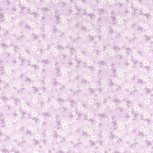 Popeline Tissu Petites Fleurs Printanières sur Textile Lavande