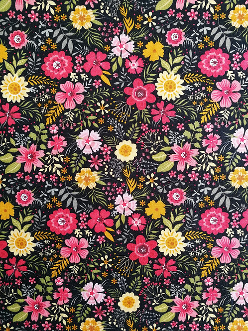 Popeline de coton Fleurs sur fond noir