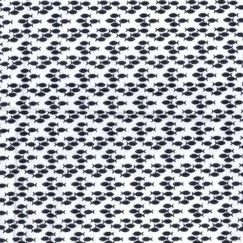 Popeline Tissu Poisson Bleu Marine sur Textile Blanc