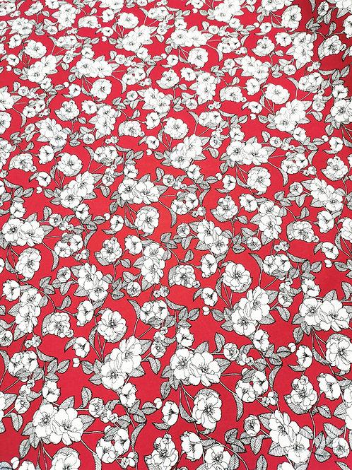 Popeline de coton Fleurs ivoires et grises sur fond bordeaux