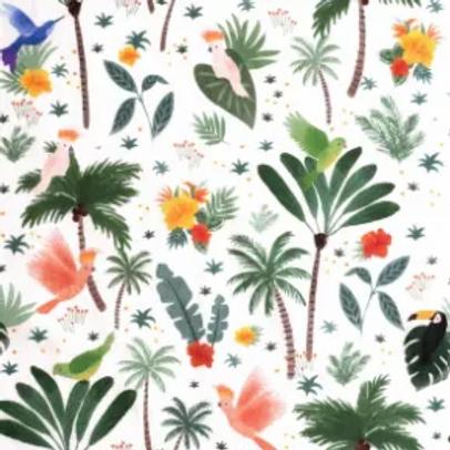 popeline-tissu-foret-et-oiseaux-du-pacifique-sur-textile-blanc-1-en-vente-aux-ateliers-dyvonne-a-kerlouan