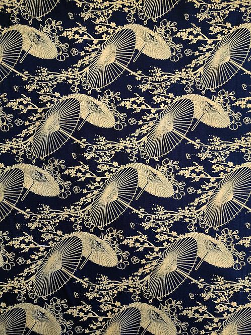 Popeline Tissu Ombrelle Chinoise Or sur Textile Noir
