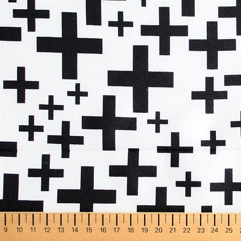 tissu néoprène blanc et croix noire vente de tissus aux ateliers d'yvonne à kerlouan en France