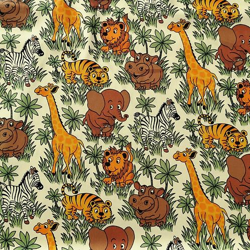 Popeline Tissu Animaux de l'Afrique sur Textile Crème
